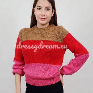 piros-rózsaszín-barna pulcsi